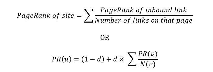 PageRank formula