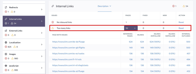 Too many links error in Website Audit