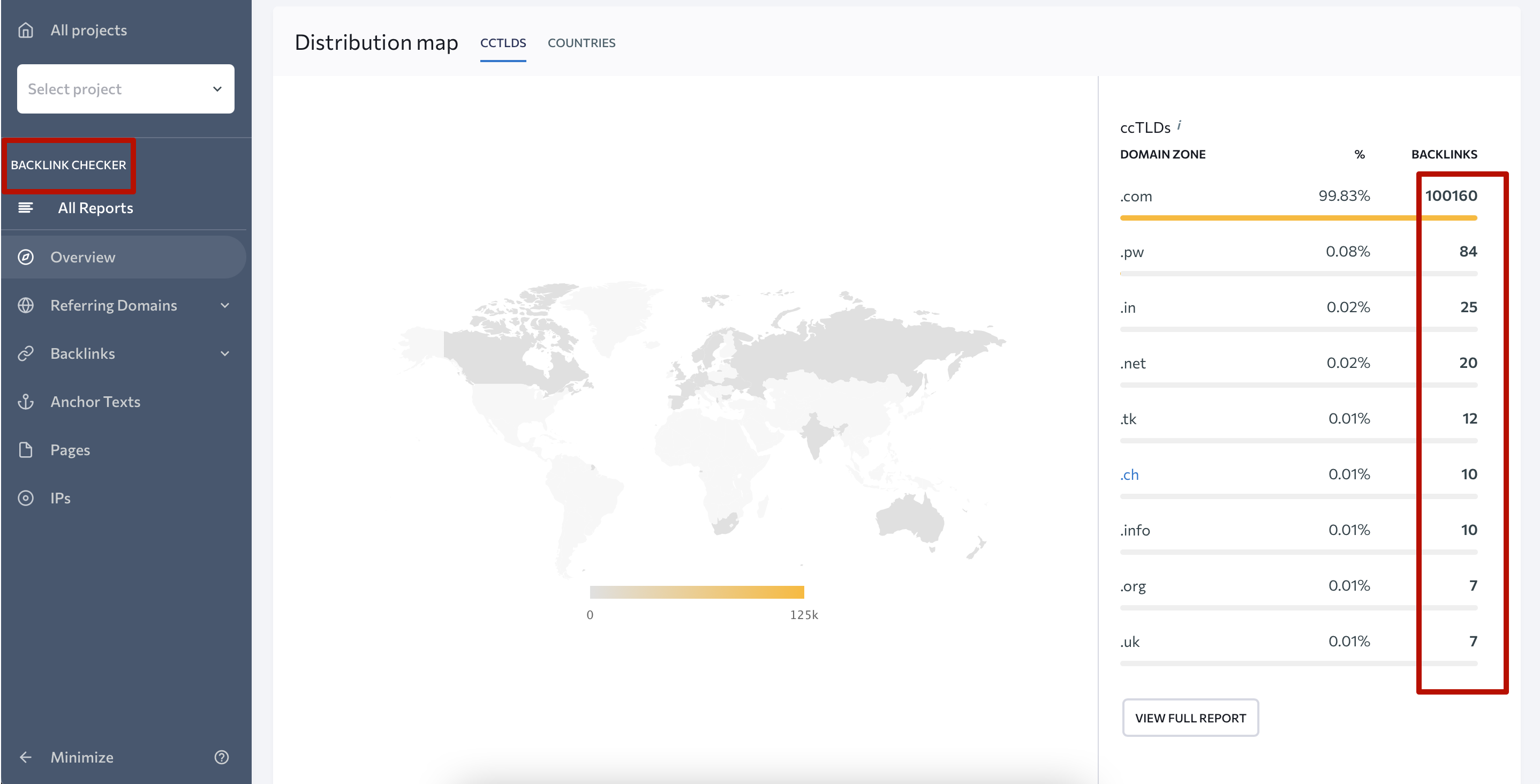Updated distribution map in Backlink Checker