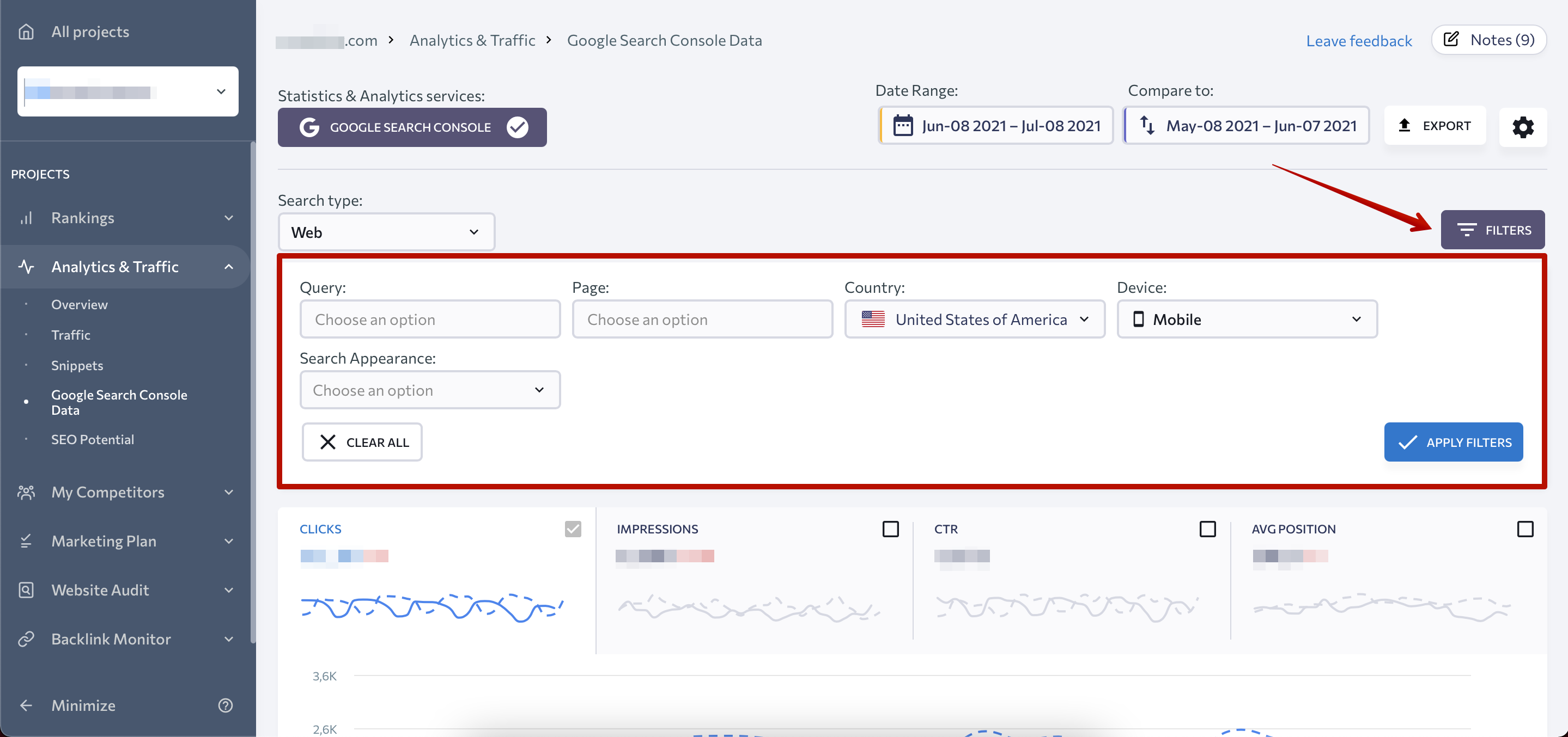 Filter update to GSC data in Analytics and Traffic