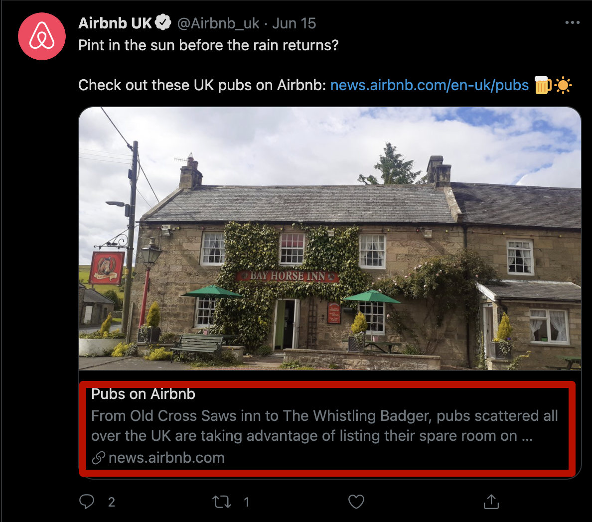 Example of Twitter Card in use