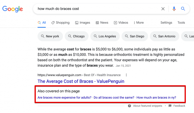 New types of featured snippets