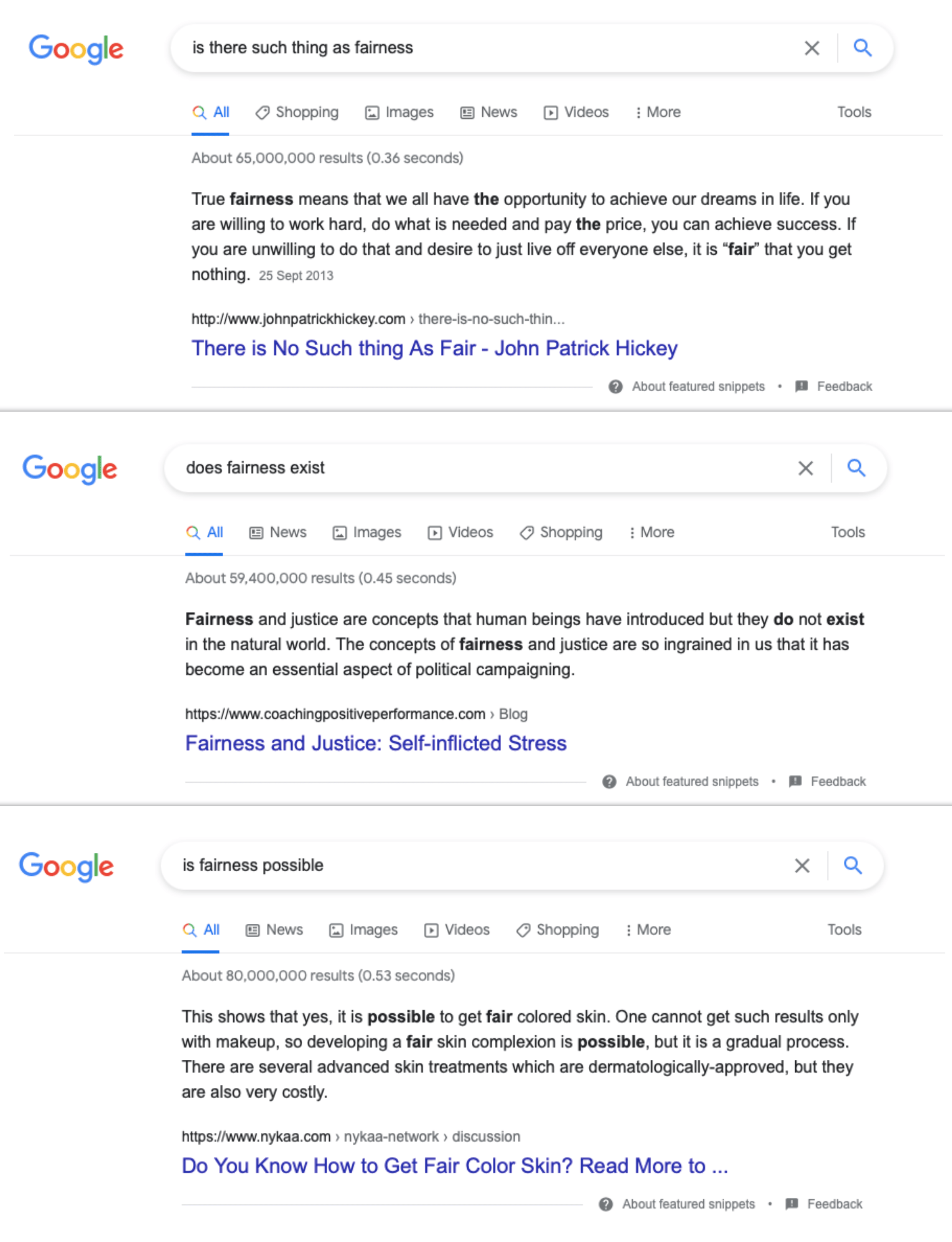 Featured snippets for a controversial query