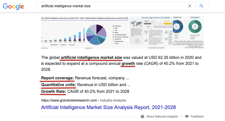 Featured snippet with highlighted words