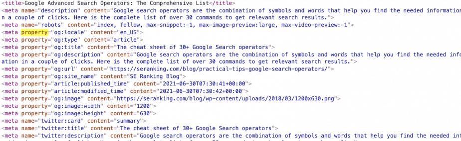 Open Graph markup code