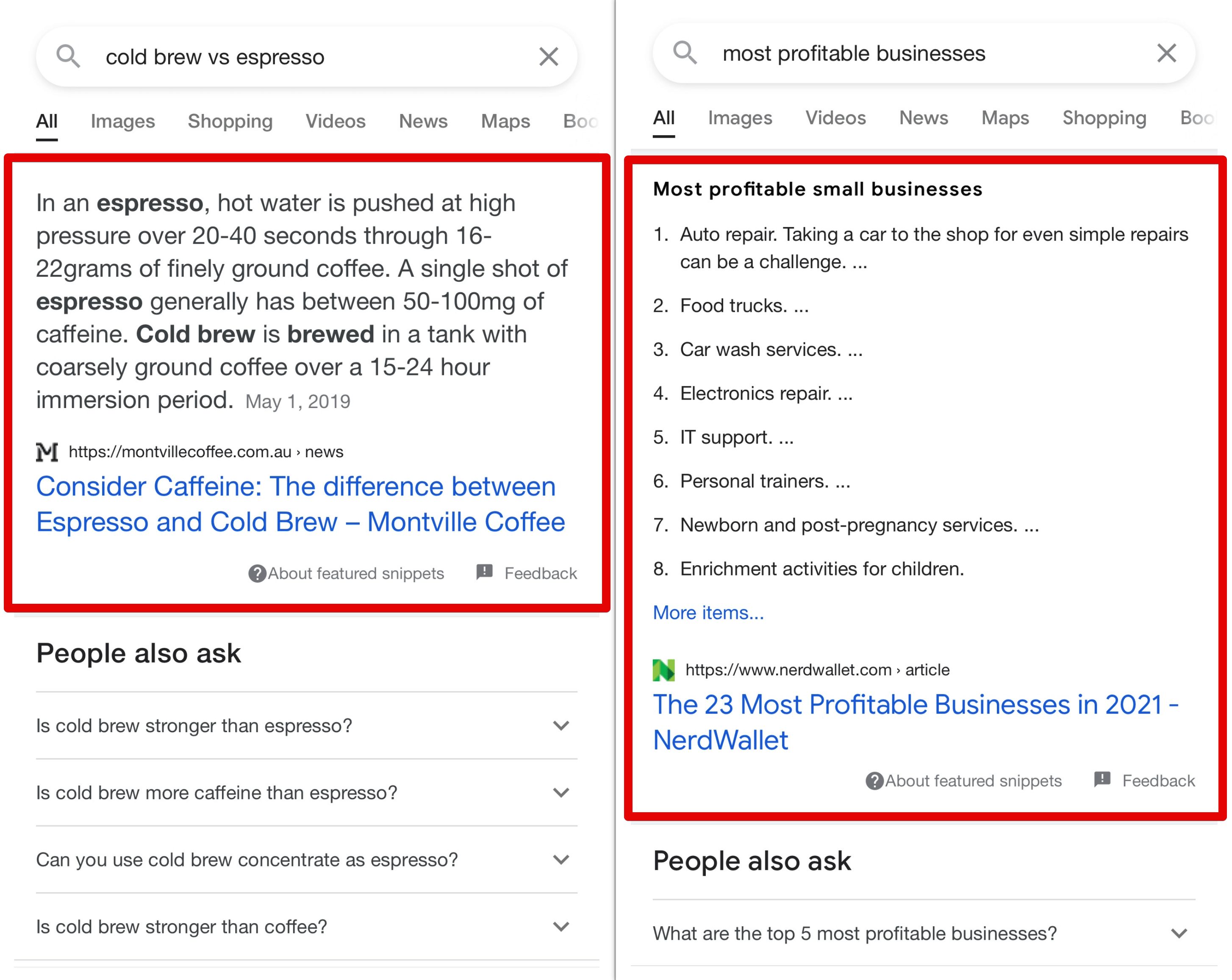 Featured snippets on mobile screen