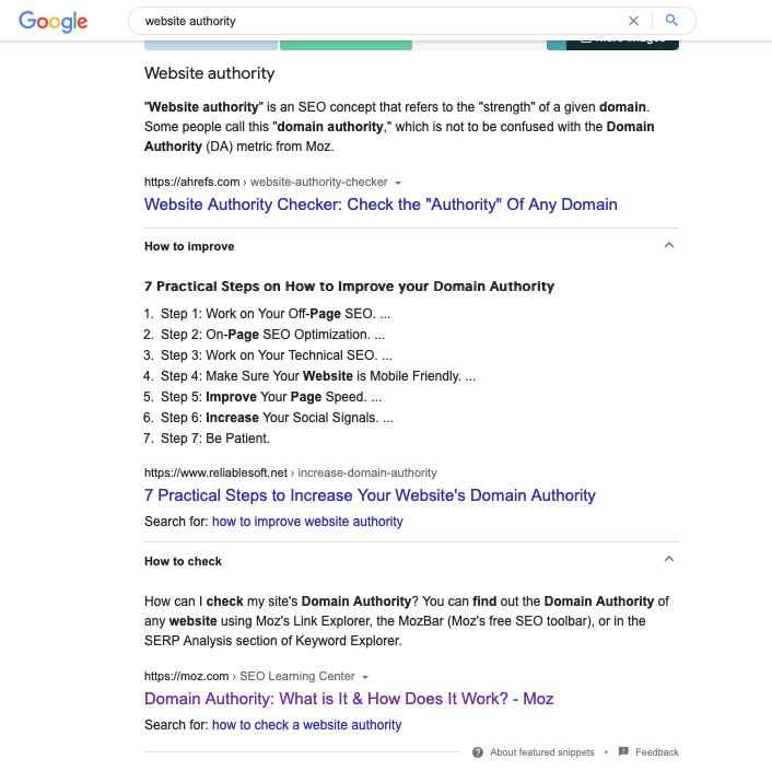 Combined featured snippet