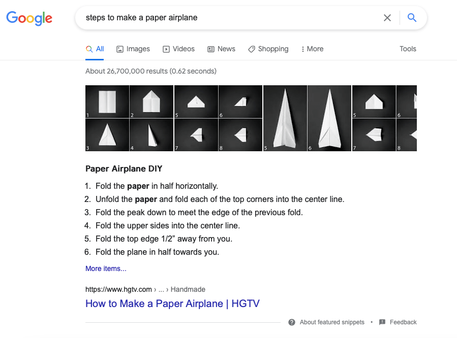 Numbered list featured snippet