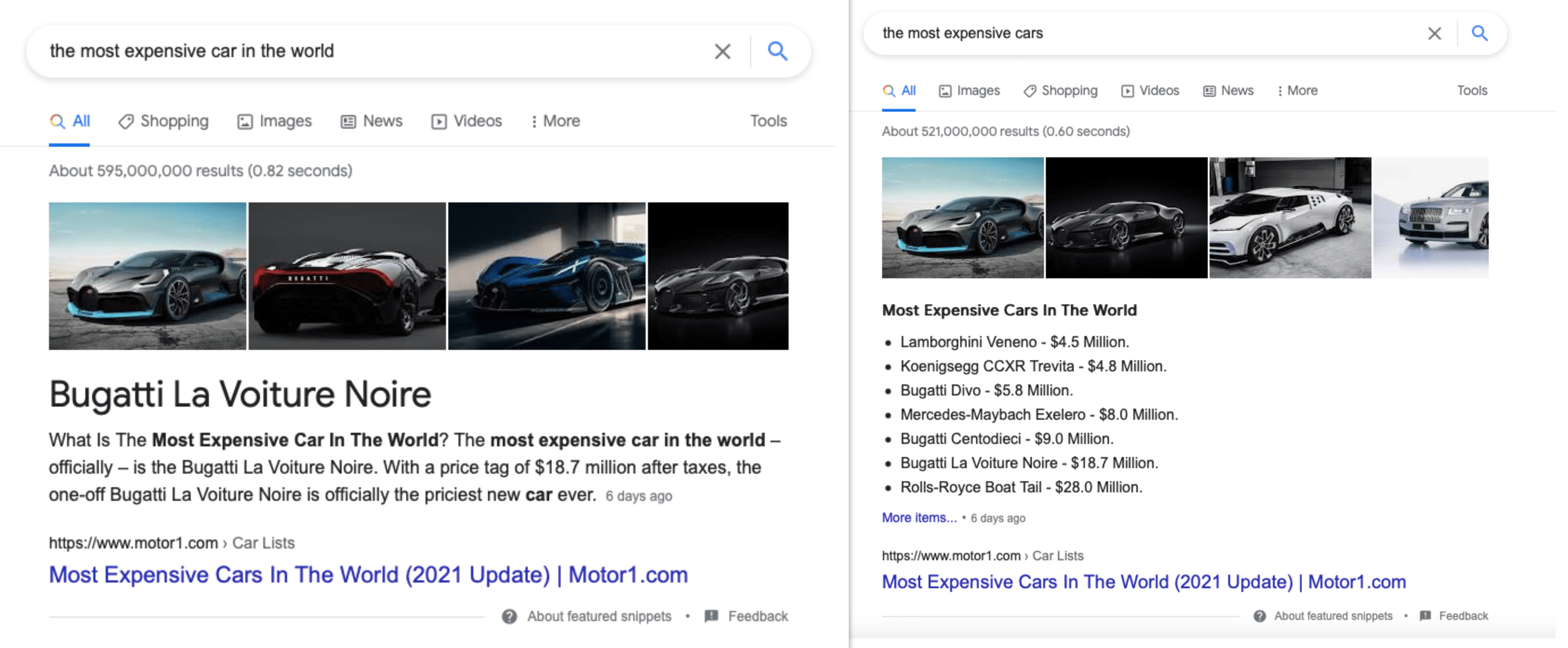 Different featured snippets from one page