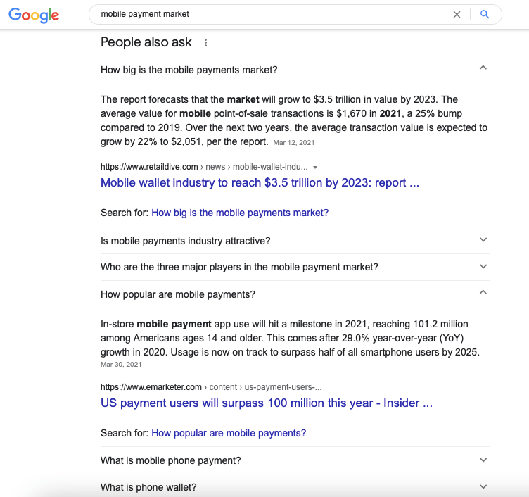 Google's People Also Ask block