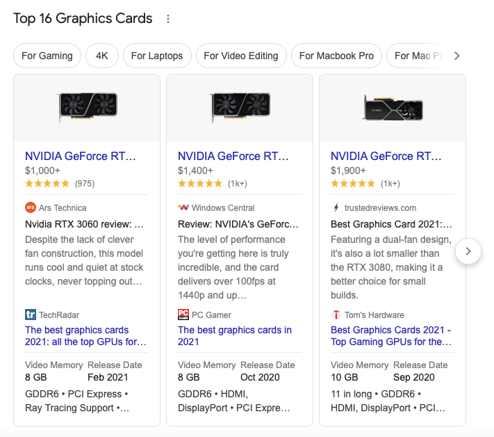 Carousel of products in search results