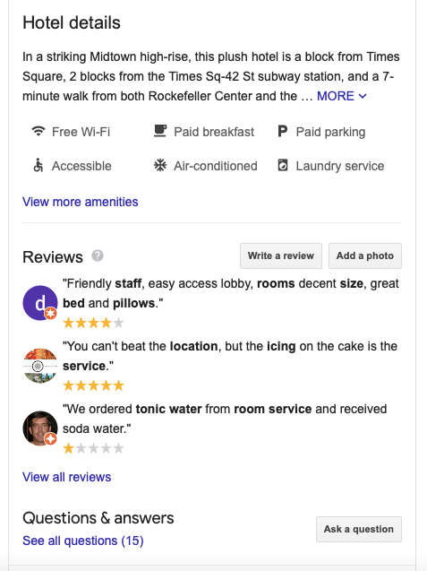 Reviews and Q&As in Google