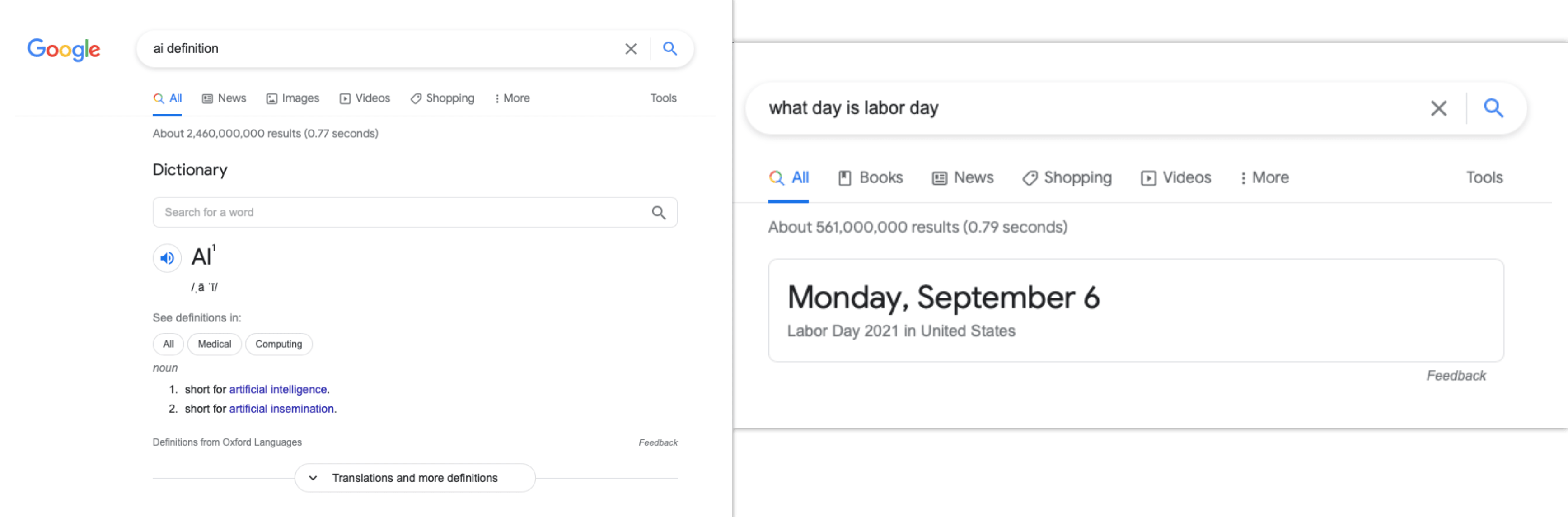 Definitions and one-box answers in Google