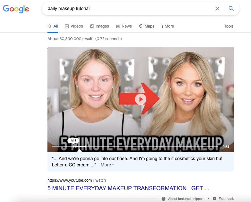 Video tutorial featured snippet