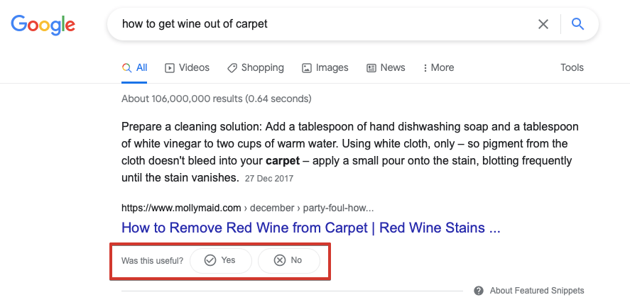 Featured snippet asking for feedback