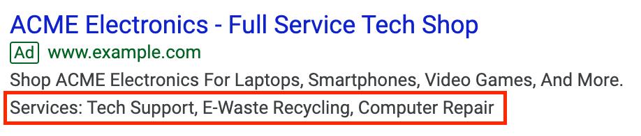 Exemple d'extrait de site d'une annonce Google