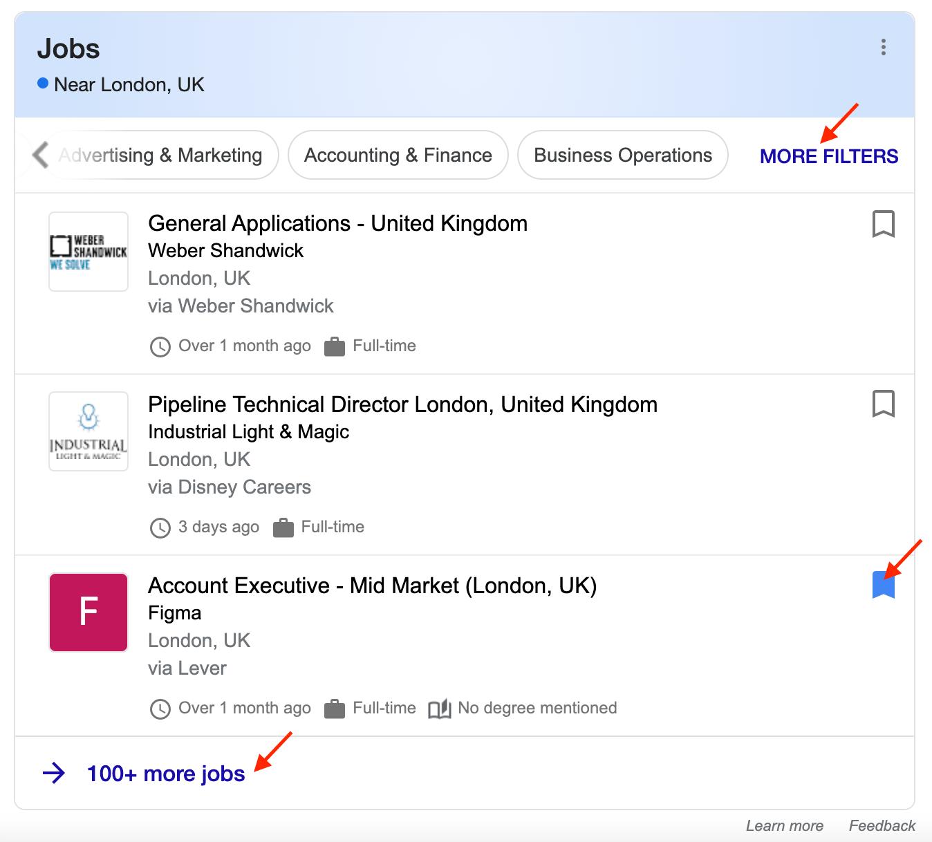 Un exemple de résultat de recherche enrichi d'emplois