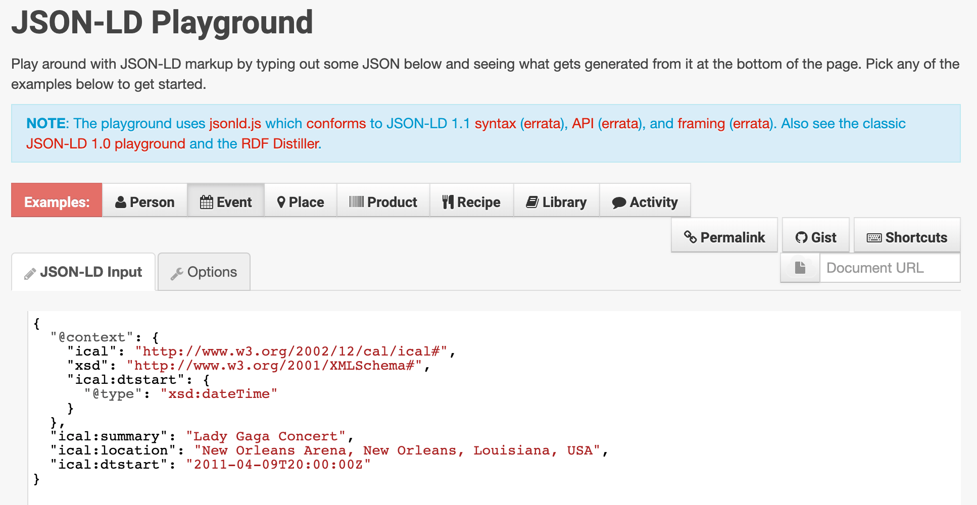 Un exemple de code JSON-LD de JSON-LD Playground