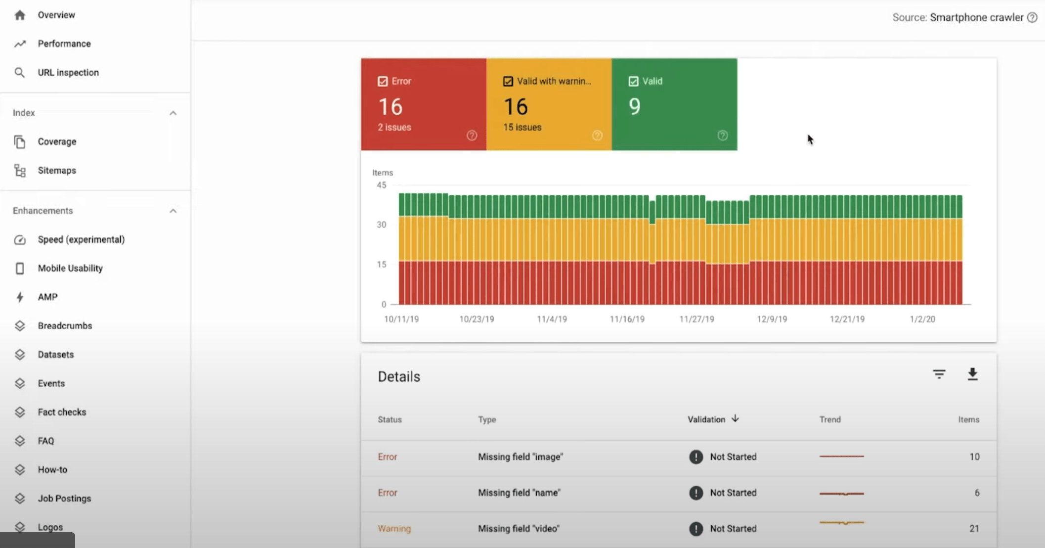 Tracking rich results in Google Search Console