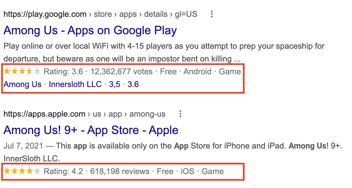 Un exemple de résultat enrichi d'une application logicielle
