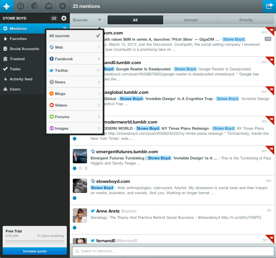 dashboard de mention