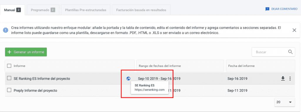 Como manejar la lista de informes en el creador de informes de SE Ranking