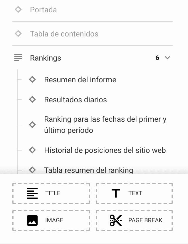 Usando el panel principal en el constructor de informes de SE Ranking
