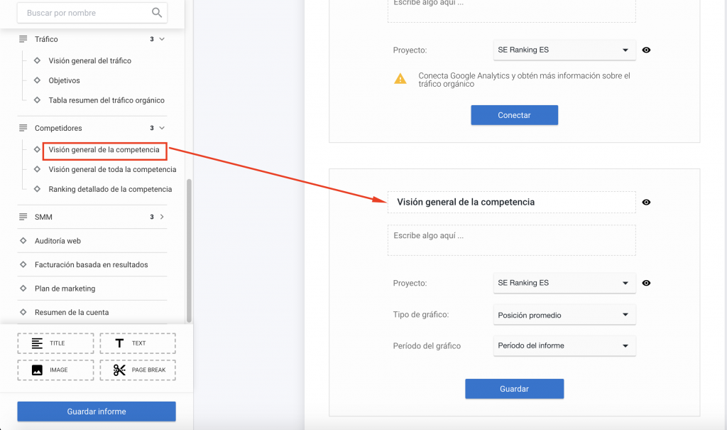 Cómo personalizar elementos del informe en el creador de informes de SE Ranking