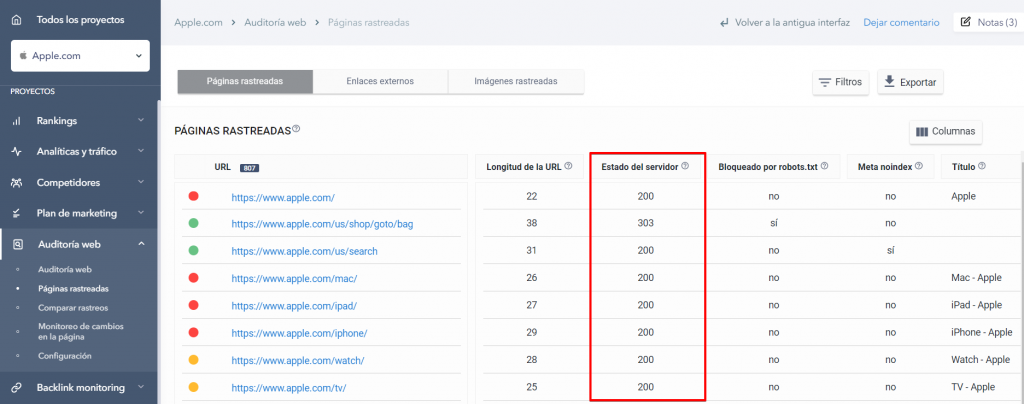 Páginas rastreadas en la Auditoría Web con los códigos de estado