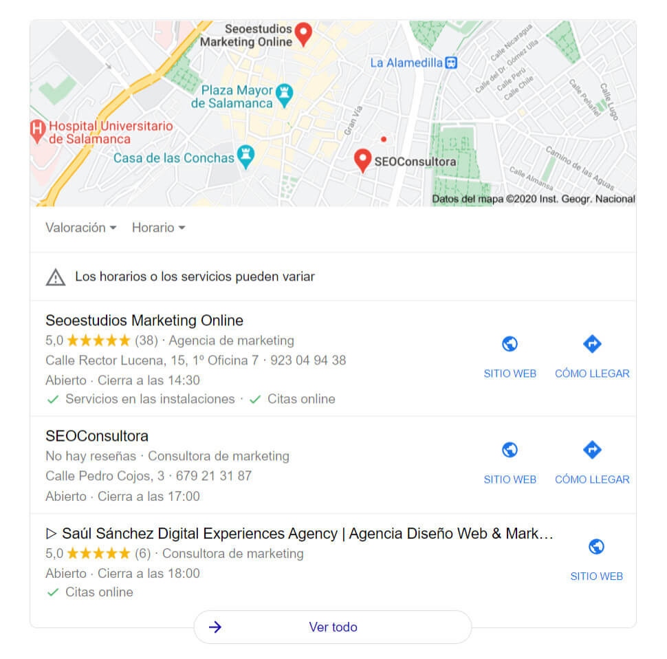resultados google my business