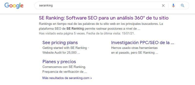 Resultados de búsqueda con enlaces de sitio