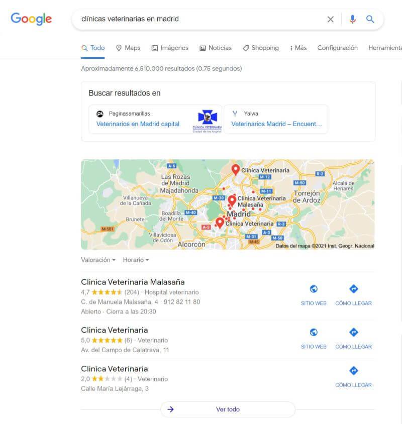 Resultados de búsqueda locales