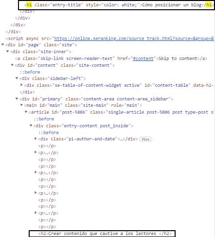 Código fuente de un post para ver la cabecera html