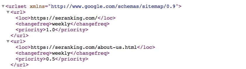 como es un mapa de sitio XML