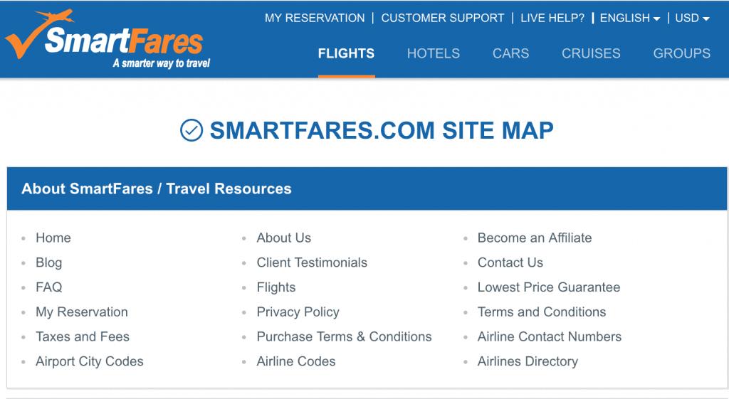 example como es un html sitemap - el ejemplo de SmartFare