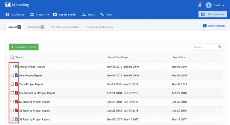 各レポートのファイル形式確認可能 - レポート一覧